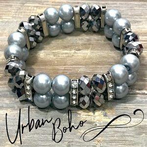 Hematite rhinestone metallic stretch bracelet